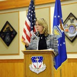 Secretary of the Air Force Deborah Lee James addressed airmen of Malmstrom Air Force Base during an all call Feb. 19, 2015. James discussed how Air Force leadership is committed to making holistic changes in the nuclear enterprise.