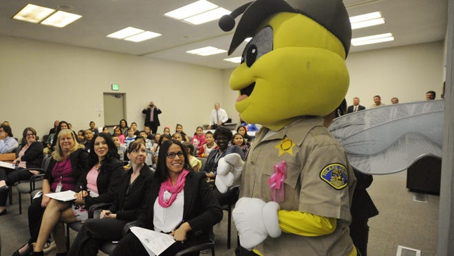 Deputy BuzzBee stopped by Tulare County Board of Supervisor's to say 'hello' to students.