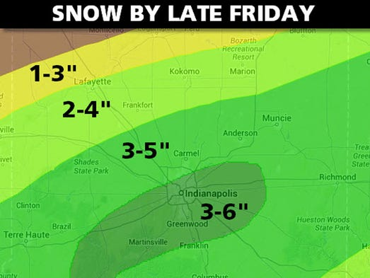 Possible snow totals