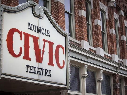 Muncie Civic Theatre sign front angle