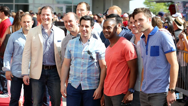 A Cappella group Straight No Chaser walk the red carpet before the start of the Indianapolis 500 at the Indianapolis Motor Speedway, Sunday, May 25, 2014, in Indianapolis.