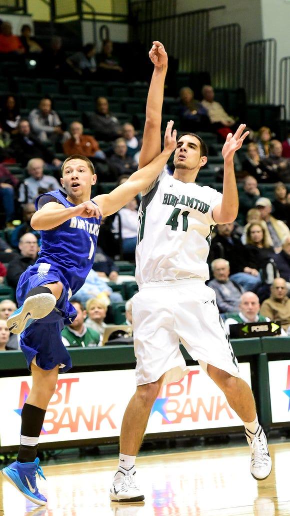 Binghamton University freshman center Dusan Perovic,