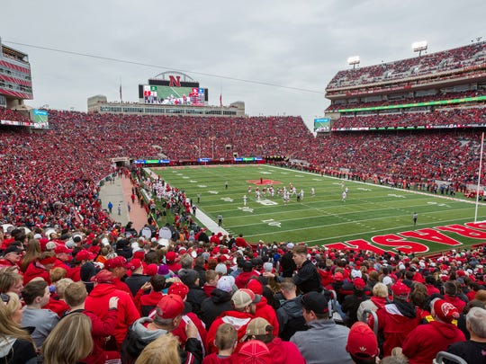 Nebraska Red/White spring game had the 2018 attendance record with 86,818 fans in Memorial Stadium in Lincoln, Neb., Saturday, Apr. 21, 2018. (AP Photo/John Peterson) ORG XMIT: NEJP111