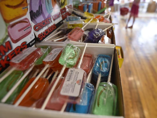 "Door County Candy carries youth-desired ""worm'' and ""cricket'' suckers."