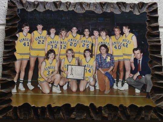 A special moment in the coaching career of Janet Wood was leading the Lady Bombers to the 1985-86 AAA state championship.