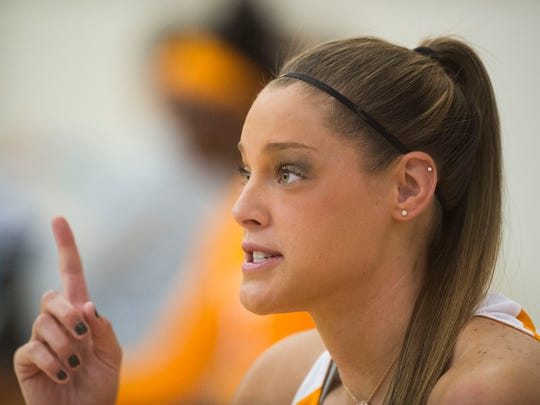 Kortney Dunbar speaks to the media at Tennessee Lady Vols media day in Knoxville, Tenn. Thursday Oct. 26, 2017.