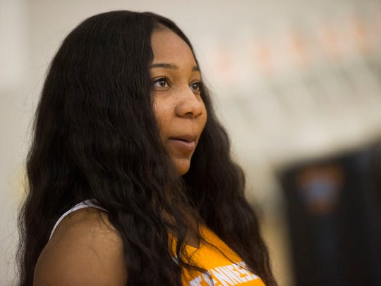 Anastasia Hayes speaks to the media at Tennessee Lady