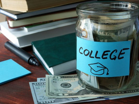 Jar with label college and money.