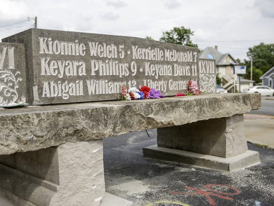 A bench was made to memorialize the four girls killed