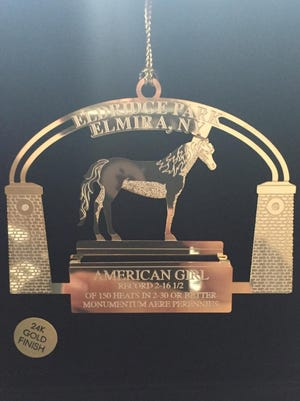 The 2015 Eldridge Park ornament shows the statue of the race horse American Girl,