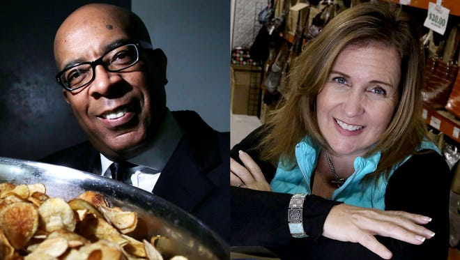 Michael Wimberley, founder of Detroit Friends Potato Chips and Kelly Carroll Burgin, owner of K. Carroll Accessories.