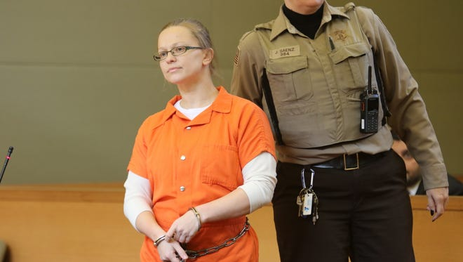 Angelika Graswald stands during her sentencing in Goshen on Wednesday.
