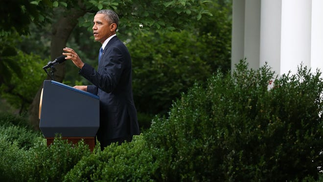 President Obama gives remarks on the Supreme Court ruling on gay marriage in the Rose Garden on Friday.
