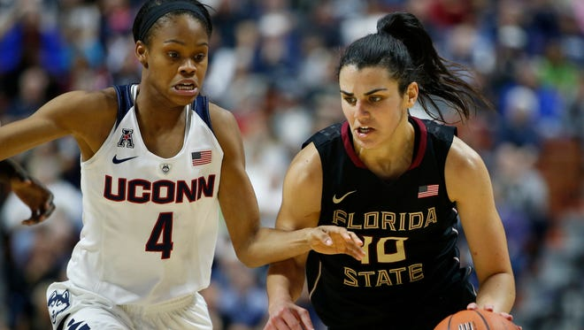 Leticia Romero dribbles past a Huskies' defender as Florida State took on No. 1 UCONN.