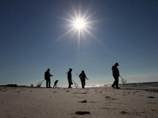 Cleanup crews search for oily tar balls along the beach