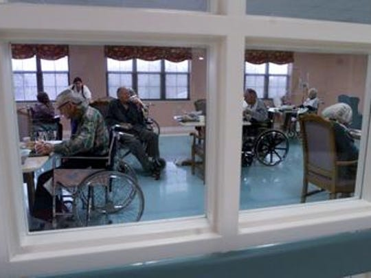 This Tennessean file photo from Jan. 25, 2000, shows residents of Community Care of Rutherford County nursing home eating lunch in the activity room of a then new wing. Another nursing home is proposed for 848 Baker Road by the town limits of Smyrna.