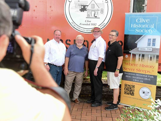 From left, Clive Mayor Scott Cirksena poses for a photo with former Mayor Les Aasheim, Clive Historical Board adviser Ernie Moore, and Dave Munoz with Munoz Productions on Monday, Sept. 7, 2015, during the Clive Labor Day picnic at Swanson Park.