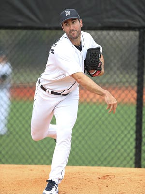 Tigers pitcher Justin Verlander throws on the first day of spring training on Feb. 14 at the remodeled Publix Field at Joker Marchant Stadium in Lakeland, Fla.