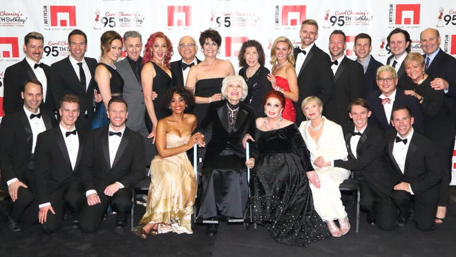 Performers in the sold-out Carol Channing Birthday Party shown: (Back Row L to R): Adam Fleming, Chad Hilligus (Producer), Eden Espinosa, Alan Cumming, Storm Large, Gavin MacLeod, Lucie Arnaz, Lily Tomlin, Laura Bell Bundy, Adam Perry, Keven Quillon, Charlie Williams (Choreographer), Steven Baker (Conductor), Sam and Mitch Gershenfeld and (Front Row L to R): Gary Milner, Ryan Steele, Marty Lawson, Anika Noni Rose, Carol Channing, Carole Cook, Florence Henderson, Brandon Cournay, Thomas Lauderdale, Robbie Roby.