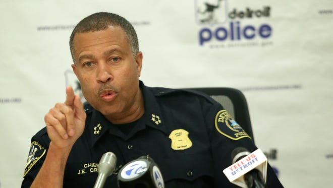 Detroit Police Chief James Craig talks during a press conference on Monday, June 29, 2015, to update the media about this past weekend shooting. Five people were shot late Sunday night at a block party on the city's east side.