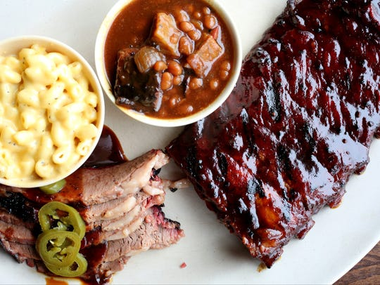 Baby Back ribs and Brisket combo, with mac and cheese