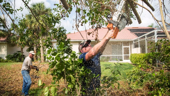Myron Palmer uses a chainsaw to help clear fallen trees from residents home in Naples on Thursday, September 21, 2017. Palmer traveled from Michigan with a small group to volunteer their time cleaning up Hurricane Irma's destruction.