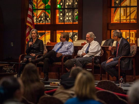 Judge Kate Toomey responds to a question during a panel discussion following the Utah Court of Appeals court session at Southern Utah University, Thursday, Jan. 28, 2016. Also pictured: Judge Gregory K. Orme, Judge Steve Roth and President Scott L Wyatt.