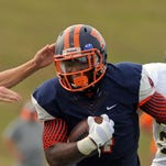 Escambia's Terik Miller, shown here in the season opener against Vidor (Texas), lost his appeal on Tuesday to restore his eligibility. Six Escambia student-athletes appealed on Tuesday, but only Joey Everette and JJ Hamilton were given the OK to return to the field this week.