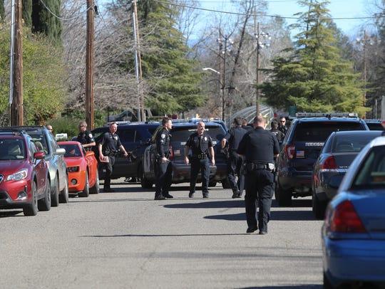 Redding Police set up a perimeter along Hiatt Drive
