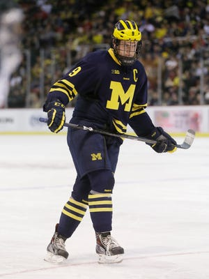 Michigan center Andrew Copp plays against Michigan State on Jan. 30, 2015 in Detroit.