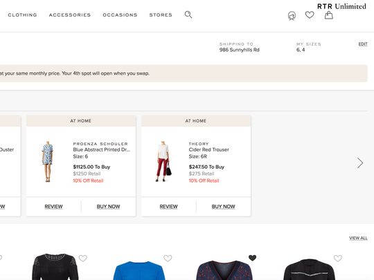 Rent the Runway clothing subscription