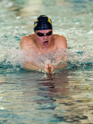 Castle's Landon Eisenhut, swims in the final heat in 200 yard IM during the IHSAA Boys Swimming and Diving Sectional at Castle High School pool in Newburgh, Ind. Saturday afternoon, Feb. 18, 2017.