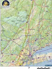 The yellow line shows a proposed route of Pilgrim Pipeline