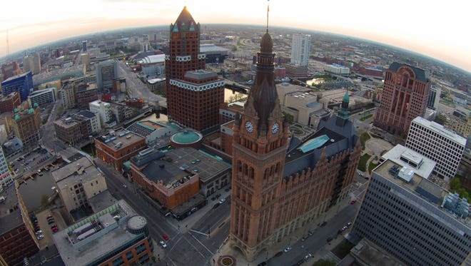 Milwaukee City Hall seen from above.