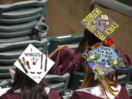 ASU graduation caps during Arizona State University's