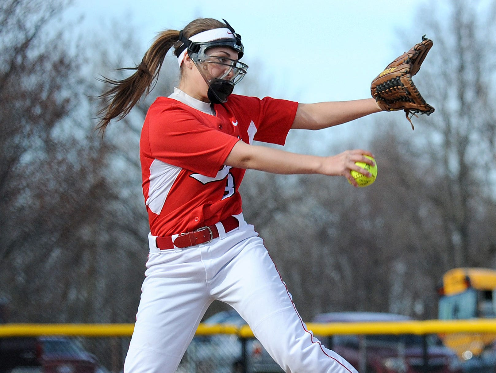 Bucyrus' Toni Zeigler pitches their game against Bucyrus Wednesday evening.
