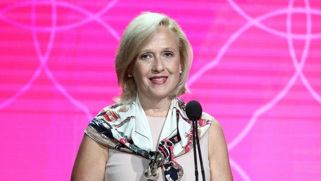PBS president Paula Kerger speaks to the Television Critics Association on July 30, 2017.