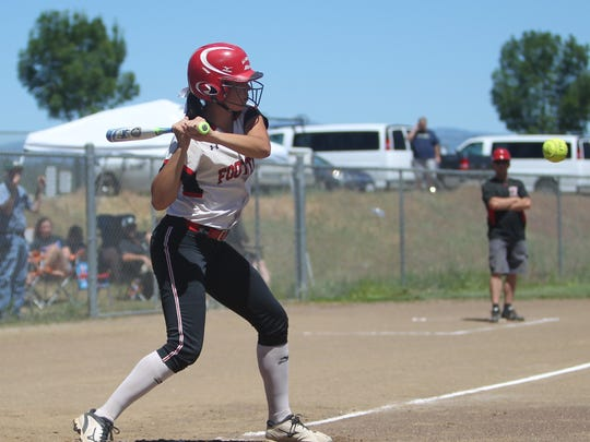 File photo - Foothill's Tayler Walker in May 2017 bats during the NSCIF Div. III softball title game against Red Bluff.