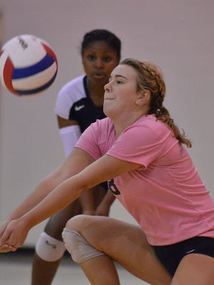 St. James' Clayton Waring (8) during their game with Trintiy in the Montgomery Area volleyball tournament at Trinity Presbyterian School on Tuesday, Oct. 21, 2014.