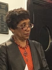 Patricia Milton, president of the Avondale Community Council, speaks at a news conference March 15 about the planned Avondale expansion of Cincinnati Children's Hospital Medical Center.