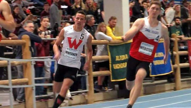 Former Guam High Panther Aaron Whitaker (left) ran a 48.53 on Feb. 19 to set the indoor 400m record for the Western Oregon University Wolves at the GNAC Indoor Track and Field Championships.