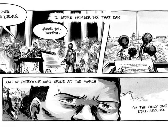 """An illustration from """"March: Book Two,"""" a graphic novel"""