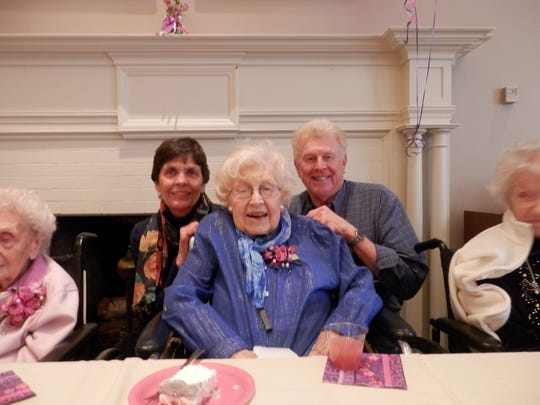 Mildred Marsden, a Friendly Home resident, is 104 years old. She is pictured here with her son Bob and daughter-in-law Rose.