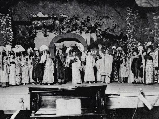 """The operattas of Gilbert and Sullivan, with their rousing scores and witty lyrics, have been favorites among college theatrical departments since the days of Queen Victoria. Southern Louisiana Institute, now the University of Louisiana at Lafayette, was no exception. This photo shows the cast of the SLI production of """"The Mikado"""" in 1904, only six years after the university's founding and less than 20 years after the work was written."""