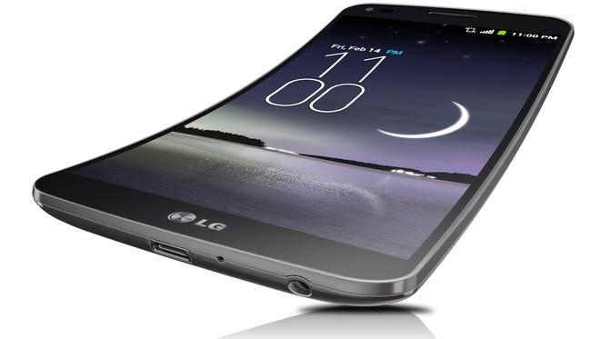 The LG G Flex smartphone.