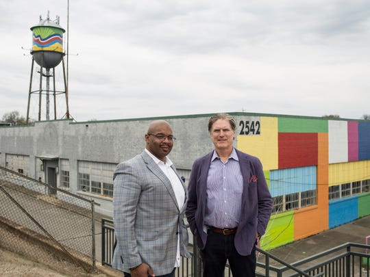 James Maclin, M&M Enterprises, and Bob Loeb, Loeb Properties, are proposing a $50 million mixed-use development for Broad Avenue across from the street's traditional storefronts.