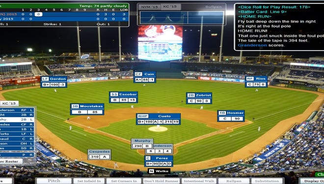 A screenshot of Daniel Murphy's two-run homer in the third inning of Game 3 in USA TODAY Sports' SImulated World Series.