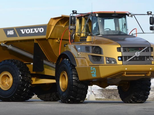 Volvo employees applied gold to this A40G hauler in recognition of the 50th anniversary of Volvo's first articulated hauler in 2016. The special hauler toured the U.S. and Canada.