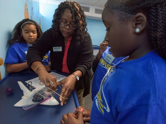 Stephanie Golden teaches Garrett Elementary School pupils as they take part in classwork at STARBASE on the Maxwell Air Force Base in Montgomery, Ala. on Thursday February 16, 2017.