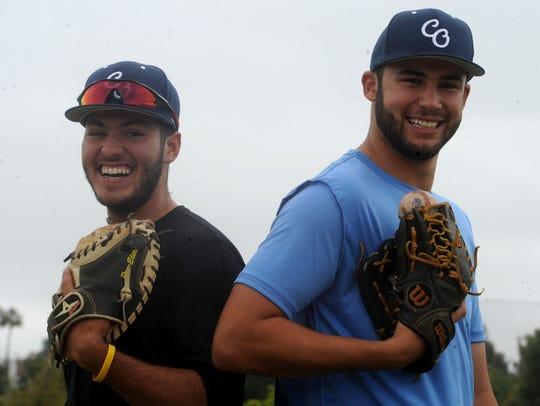 Rio Mesa catcher Jacob Castro, left, and pitcher Jacob